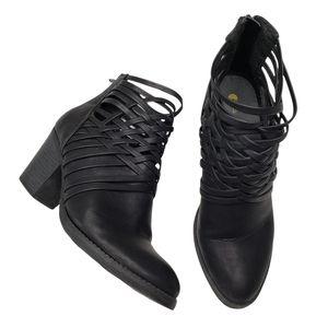 Big Buddha   Black Vegan Leather Southwestern Braided Woven Ankle Booties 8